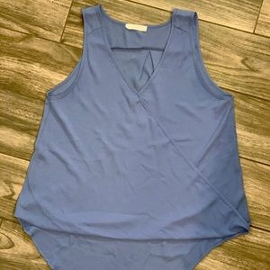 Tank top with high low hem and faux wrap front